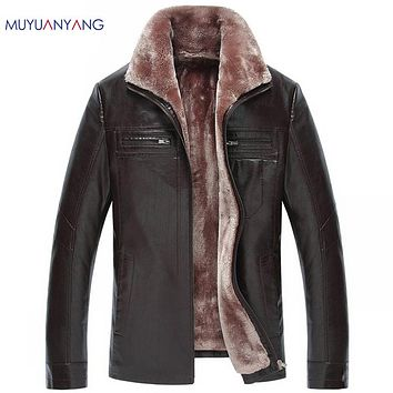 Men's Leather Coat Black & Brown Motorcycle Leather Jackets For Male Snow Jackets and Coats Warm Coat Overcoat