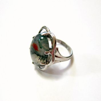 Art Deco Handmade Sterling Cabochon Moss Agate Ring - Signed and Hallmarked