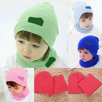 Newborn Baby Hat and Scarf Set Boys Girls Spring Autumn Winter Warm Caps Scarf Set kids Knitted Hats Children Accessories
