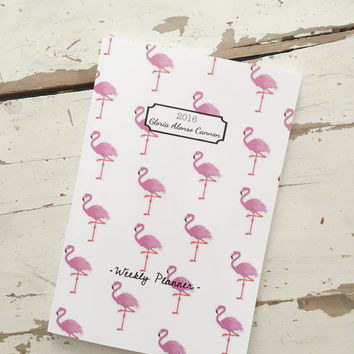 2016/2017 Weekly Planner- Flamingo Personalized