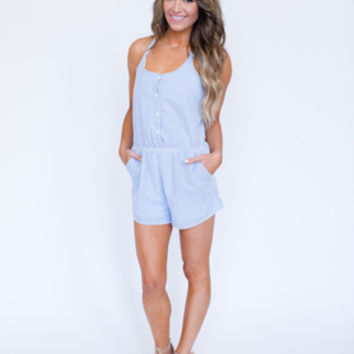 Blue Searsucker Romper
