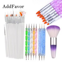 Addfavor 15pcs Acrylic Nail Art Brush UV Gel Polish Painting Drawing Brushes Pen Nail Dotting Kit Clean Brush Manicure Tools Set