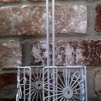 Upcycled White Flower Iron Paper Towel Holder/ Bracelet Holder/ Ribbon Storage
