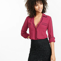 Slim Fit Double Contrast Piped Portofino Shirt from EXPRESS
