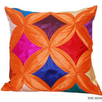 Orange and Multicolored Decorative Throw Pillow/ Cushion Cover - 'Orange Garden'