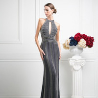 PRIMA 17-8706 Charcoal Sheer Illusion Beaded Prom Dress Evening Gown