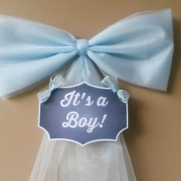 Blue Baby Shower Bow,Hospital Door Decoration, Its a Boy, Baby Shower Bow, Birth Annoumcement, Baby Shower Decoration,