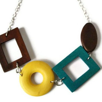 Chunky Wood Necklace in Brown, Teal and Yellow. Statement Necklace, Perfect Fall Fashion