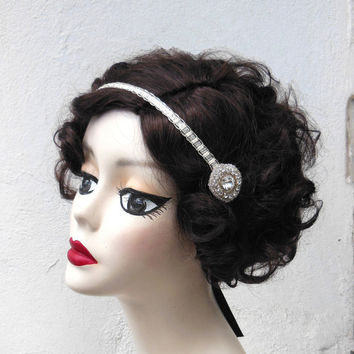 Crystal Flapper Headband, Hair Accessory, Great Gatsby, Costume Headpiece, Silver Sequin