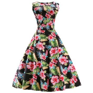 Vintage Round Collar Sleeveless Back Zipper Belt Lace-up Floral Print Ball Gown Mid-calf Dress for Women