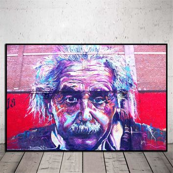 Modern Abstract Colorful Einstein Canvas Wall Art Painting Graffiti Figure Picture Artwork for Living Room Wall Decor No Frame