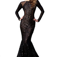 Black Sequin Backless Maxi Dress With Fish Tail