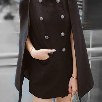Black Patchwork Irregular Pockets Double Breasted Band Collar Cape Coat