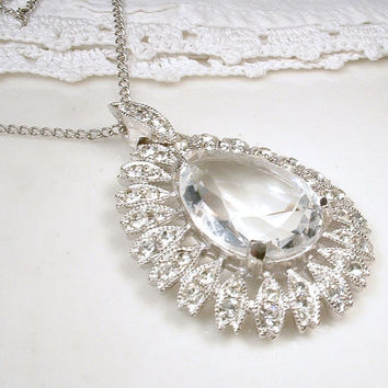 1920s Rhinestone & Austrian Crystal Bridal Necklace, Art Deco Flapper Statement Jewelry, Vintage Pave Silver Pendant Necklace Gatsby Wedding