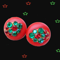 Holiday Clip on Earrings - OOAK Red & Green Rhinestone Clip ons