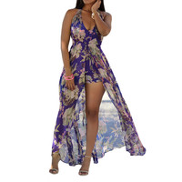 Fashion Women Multi-Color Floral Printing Blue Pink Romper Long Dress  SN9