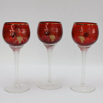 Bohemian Crystal Cordial Stemware / SET of 3 / Cranberry with Encrusted Gold
