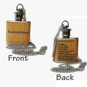 Flask Necklace 1oz - Polyjuice potion from Harry Potter with ingredients on back -  Looks like normal necklace when flask is hidden