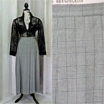 Vintage houndstooth maxi skirt / Fall / Winter /size  S 5 / 6 / retro high waist long skirt  / 80s plaid pleated skirt