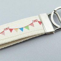 Bunting keychain, Small gift idea for teacher, Wrist lanyard, Fun bag tag, Party favor, Fabric keyring, Door key fob,