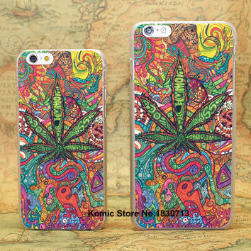 Abstractionism Art high weed tumblr Design hard transparent clear Skin Cover Case for Apple iPhone 7 6 6s Plus SE 5 5s 5c 4 4s