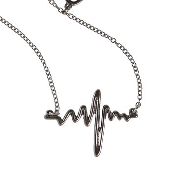 Blackheart Hematite Heartbeat Necklace