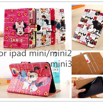 Cute 3D cartoon mickey minnie mouse Flip Magnetic pu Leather stand CASE Cover for iPad mini 1 mini 2 mini 3 mini 4 tabelt case