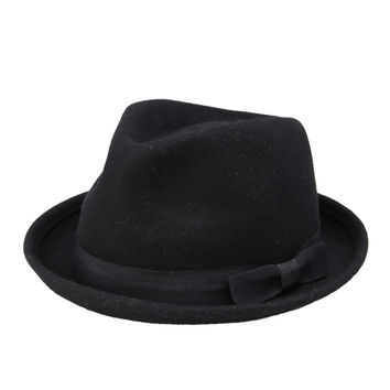Men Women 100% Wool VTG Black Style Felt Trilby Hat BNWT/NEW Gangster Fedora hat