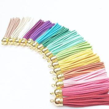 Suede Leather Tassel Keychain - You Choose Color