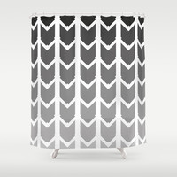 Geometric Pattern - Black & White Shower Curtain by C Designz