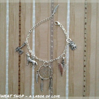 Dream of Wolves  Dreamcatcher Charm by sweatshopLABORofLOVE