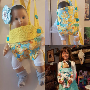 "baby carrier cartoon doll sling 15-16 inch dolls or stuffed animals ( Will fit Bitty Baby® ) ""Rubber Duckies"" adjustable quilted P2"