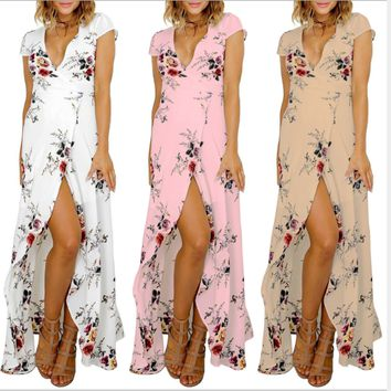 2018 Summer Fashion Off-the-shoulder Floral Printed Long Slit Maxi Dress V-neck Dress