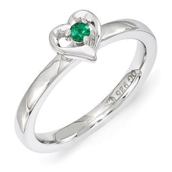 Sterling Silver Stackable Expressions Created Emerald 6mm Heart Ring