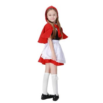 2017 New Children Girls Little Red Riding Hood Cute Dress+Cloak+Apron Maid Dress Costume Cosplay Clothing Halloween Supplies Hot