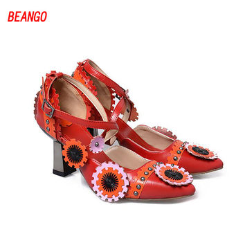 BEANGO Spring Luxury Party Retro Genuine Leather Sandals Buckle Mixed Color Flower Women Shoes Strange Heels Pointed Toe Shoes