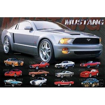 MUSTANG EVOLUTION Collage POSTER history car RARE 16X20