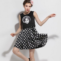 Black Baby Print Muscle Crop Tank Short With Polkadot Pleated Skirt