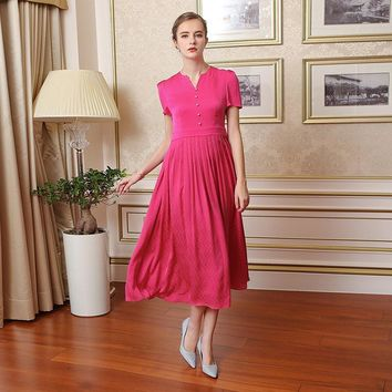 heavy silk jacquard red vintage dress plus size women elegant short sleeve high waist slim maxi Dress