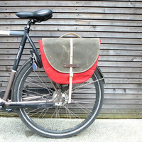 Waxed canvas pannier / bicycle bag  with flap, bike accessories