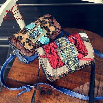 Personality leopard snakeskin pattern stitching color metal buckle ladies handbag shoulder bag across body messenger bags purse