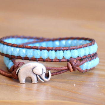 Blue Opal leather wrap bracelet, Good Luck charm, silver elephant, bohemian trendy jewelry, hipster, gift idea by OlenaDesigns