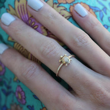 Gold stacking ring, turtle ring, 14k gold fill stacking ring, skinny gold ring, tortoise ring