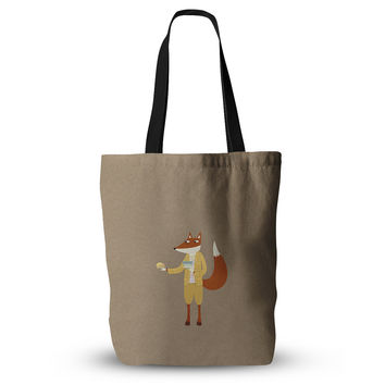 "Nic Squirrell ""Mr Fox Takes Tea"" Tan Animals Everything Tote Bag"