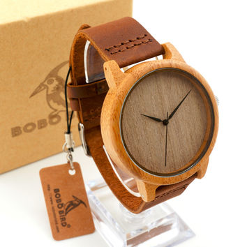 Luxury Men's Round Bamboo Watches With Genuine Cowhide Leather Japan Movement Wristwatch for Man Wood Watches as Gifts