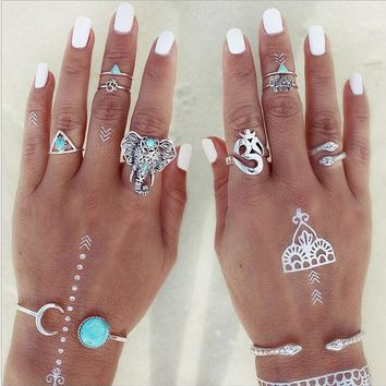 LMFU3C 8PCS Vintage Beach Punk Elephant Moon Arrow Ring Set Ethnic Carved Antique Silver Plated Snake Finger Ring Knuckle Charm 3373