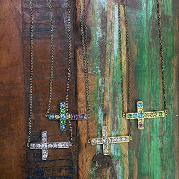 Rhinestone Cross Necklace 4 Pack!