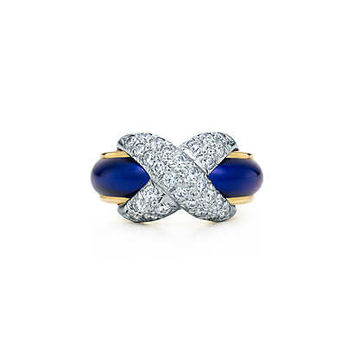Tiffany & Co. - Tiffany & Co. Schlumberger® Pavé X ring in gold with blue enamel and diamonds.