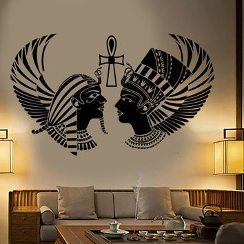 Vinyl Wall Decal Egyptian King Queen Head Pharaoh Ancient Egypt Stickers Unique Gift (1838ig)