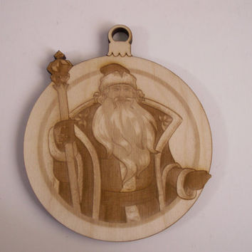 Father Christmas,Christmas Ornament Wood Shapes,2 Pieces,Laser Cutout,Unfinished Wood,Christmas Decorations,Home Decor,Wreaths,Door Hangers